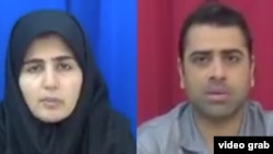 "Iranian labor rights activists Sepideh Gholian and Esmail Bakhshi appear in a screen shot of an Islamic Republic of Iran Broadcasting documentary ""Tarahi Soukhteh"" (A Burnt Plot), broadcast Jan. 19, 2019. International rights activists say the activists w"