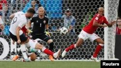La France contre le Danemark, lors du Mondial 2018, le 26 juin 2018.