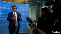 Director-General of the World Health Organization, Dr. Tedros Adhanom Ghebreyesus briefs the media on the Ebola outbreak at their headquarters in Geneva, Switzerland, May 14, 2018.