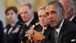 4일 바락 오바마 미국 대통령이 백악관에서 마지막 군 수뇌부 회의를 주재하고 있다.