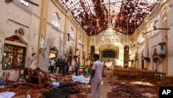 Hiện trường một vụ tấn công ở Sri Lanka.