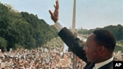 """美國民權領袖馬丁•路德•金當年發表""""我有一個夢想""""演說。"""