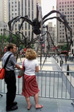 A giant spider sculpture by Louise Bourgeois during an exhibit in New York's Rockefeller Center in the summer of 2001