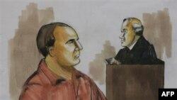 Дэвид Коулман Хедли (слева) на рисунке, сделанном во время судебного заседания