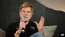 Robert Redford, founder of the Sundance Institute, speaks during the opening-day press conference of the 2017 Sundance Film Festival in Park City, Utah, Jan. 19, 2017.