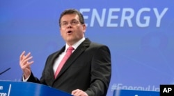 In this file photo taken on Feb. 25, 2015, European Commissioner for Energy Union Maros Sefcovic speaks during a media conference at EU headquarters in Brussels, Belgium.