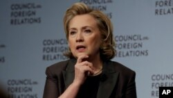 """Hillary Clinton participates in a conversation about her career in government and her new book, """"Hard Choices.,"""" at the Council on Foreign Relations, in New York, June 12, 2014"""