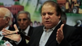 Nawaz Sharif address a news conference after launching his party manifesto for the coming parliamentary elections, in Lahore, March 7, 2013.