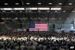 美国总统川普在日本东京外围的横田空军基地对美军官兵讲话(2017年11月5日)