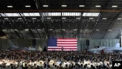 川普2017年11月5日在東京郊外的橫田空軍基地向美軍發表演說