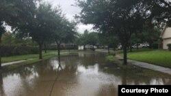 Flooded street in Houston, Texas