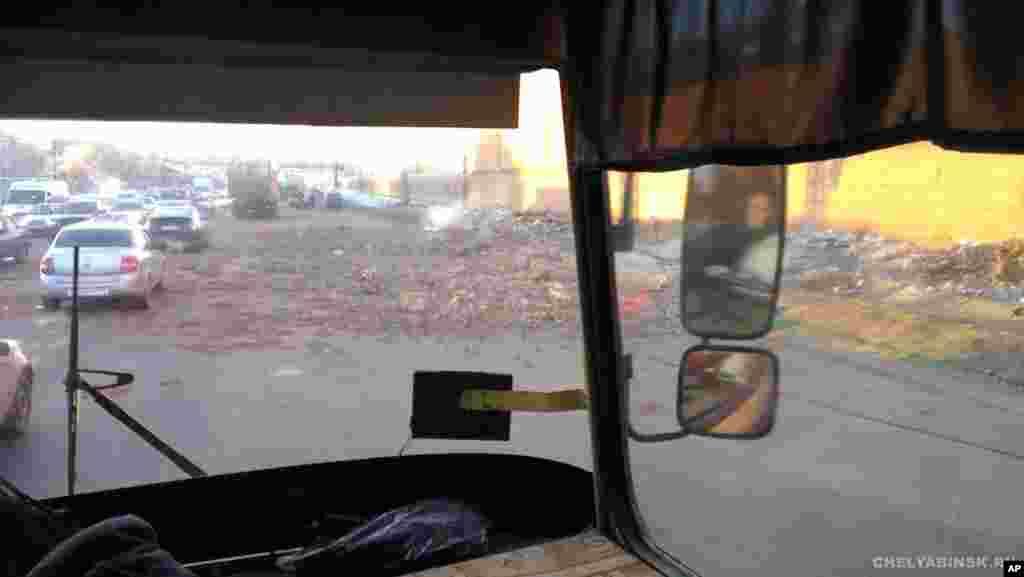 Debris is shown in the Chelyabinsk region, February 15, 2013. Photo provided by Chelyabinsk.ru.