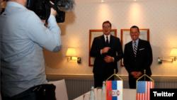 Specijalni izaslanik američkog predsednika za pregovore Srbije i Kosova, Ričard Grenel i predsedsednik Aleksandar Vučić, Foto: Twitter