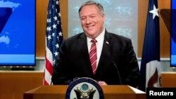 Ngoại trưởng Mỹ Mike Pompeo trong cuộc họp báo tại Bộ Ngoại giao ở Washington D.C., ngày 29/4/2020.