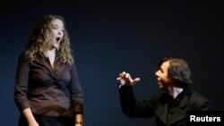 FILE - Conductor Teodor Currentzis (R) accompanies U.S. opera singer Mardi Byers in the Bolshoi theatre in Moscow. (REUTERS/Denis Sinyakov)