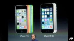 2013年9月10日苹果公司在美国西岸加利福尼亚州宣布两款手机iPhone 5S 和iPhone 5C,iPhone 5C有绿、蓝、黄、粉和白色5种颜色可供选择。