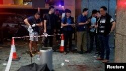 香港星期天(11月3日)爆發流血衝突的現場。路透社