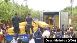 Mercadoria apreendida pela polícia de São Tomé e Príncipe