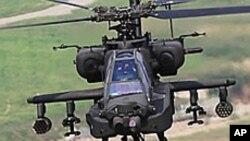 미-한 연합훈련 중인 아파치 헬기 (자료사진).