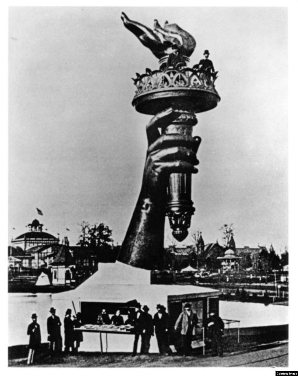Liberty's torch on display at the World's Fair in Philadelphia in 1876 to raise money and public enthusiasm.