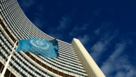 FILE - The flag of the International Atomic Energy Agency (IAEA) flies in front of its headquarters.