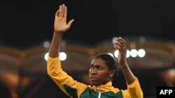 Caster Semenya après avoir décroché la médaille d'or à la finale du 800 m aux Jeux du Commonwealth, Gold Coast, le 13 avril 2018.