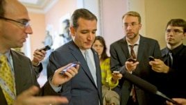 Senator Ted Cruz is pursued by reporters upon his return to Capitol Hill in Washington, Oct. 11, 2013.