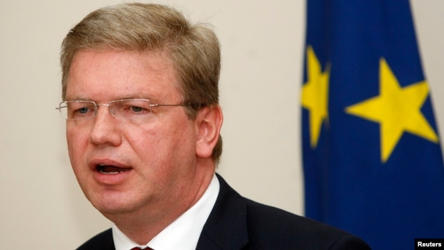 FILE - European Commissioner for Enlargement Stefan Fule, May 3, 2012.