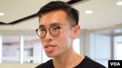 香港大學學生會外務秘書梁晃維 (美國之音特約記者 湯惠芸拍攝 )
