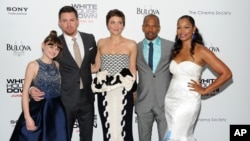 "Cast members, from left, Joey King, Channing Tatum, Maggie Gyllenhaal, Jamie Foxx and Garcelle Beauvais attend the ""White House Down"" premiere at the Ziegfeld Theatre in New York."