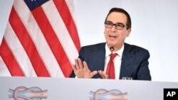 美国财政部长努钦在2017年3月17日20国集团财政部长会议上讲话
