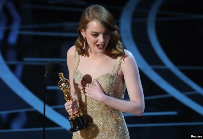 Emma Stone phát biểu nhận giải Nữ diễn viên chính xuất sắc nhất cho phim 'La La Land.'