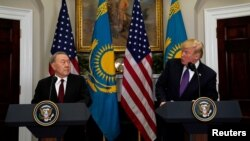 U.S. President Donald Trump and Kazakhstan President Nursultan Nazarbayev speak in the Roosevelt Room of the White House in Washington, U.S., Jan. 16, 2018.