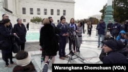 Jirayuth Latthivongskorn, a DACA recipient, speaks to the press after the Supreme Court's hearing
