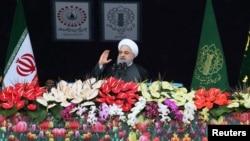 Hassan Rohani, marquant le 40è anniversaire de la révolution islamique,Téhéran, le 11 février 2019.
