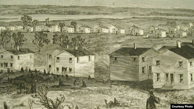 """Close-up from """"Freedman's Village, Arlington, Virginia"""" Print from Harper's Weekly, May 7, 1864"""