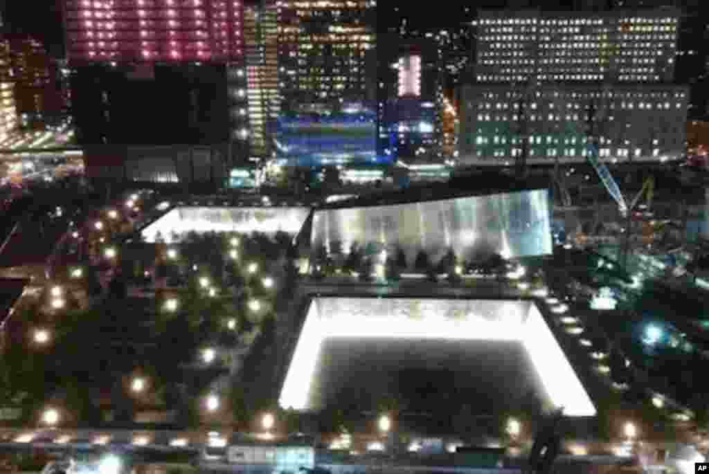The September 11th Memorial in New York City is see the night before the 10th anniversary of the attacks.