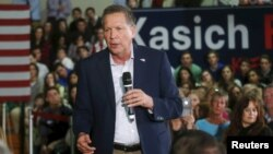 FILE - Republican presidential candidate John Kasich addresses supporters in Grosse Pointe Woods, Michigan, March 7, 2016. Kasich continues to argue that his long experience in Congress and his tenure as Ohio governor make him the best alternative to Trump and Cruz.