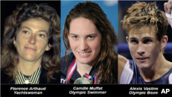The victims: yachtswoman Florence Arthaud, Olympic swimmer Camille Muffat and boxer Alexis Vastine
