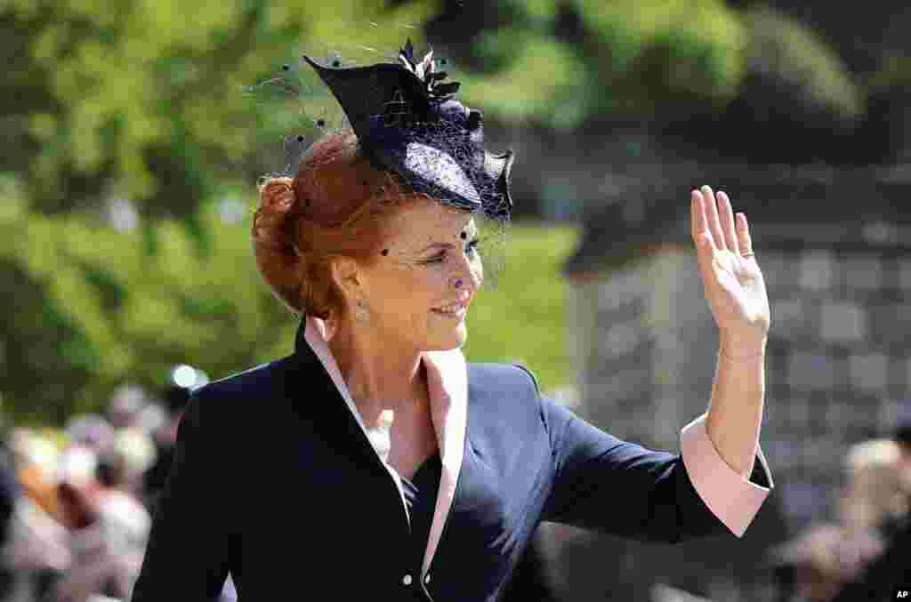 Sarah Ferguson arrives for the wedding ceremony of Prince Harry and Meghan Markle at St. George's Chapel in Windsor Castle in Windsor, near London, England, May 19, 2018.