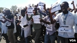 Protesting doctors and nurses in Zimbabwe.