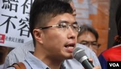 香港民陣副召集人、立法會議員區諾軒。(美國之音湯惠芸)