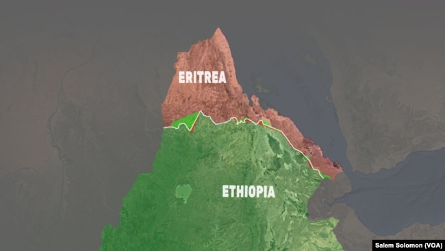 A map of Eritrea and Ethiopia depicts the border between the countries based on an international ruling in 2002. Each country disputed portions of the ruling but agreed to accept the terms in full. But Ethiopia prevented demarcation of the border, resulting in 16 years of unresolved tension between the countries. In June 2018, the Ethiopian government said it would agree to implementing the terms of the 2002 ruling in full.