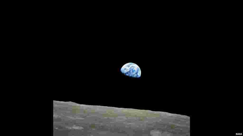 Forty-Fifth Anniversary of 'Earthrise' Image - the first photograph of the distant blue Earth above the Moon taken by the Apollo 8 crew on Dec. 24, 1968