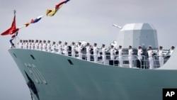 2017年5月停靠在新加坡樟宜海軍基地的中國黃山號護衛艦。(資料照片)