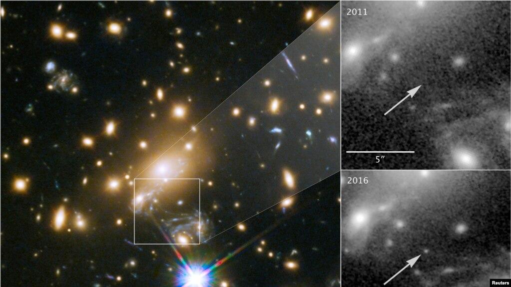 Imagen tomada por el telescopio espacial Hubble de NASA de una estrella azul súper gigante llamada Ícaro, la más distante estrella individual jamás vista. April 2, 2018.
