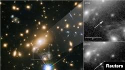 L'image d'Icarus, l'étoile la plus éloignée jamais vue, prise par le télescope de la NASA Hubble, le 2 avril 2018.