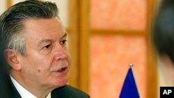 FILE - European Trade Commissioner Karel De Gucht , March 25, 2013.