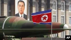 A missile is displayed during a military parade in Pyongyang, North Korea on April 15, 2012 to celebrate the 100th anniversary of North Korea's founding father, Kim Il Sung.
