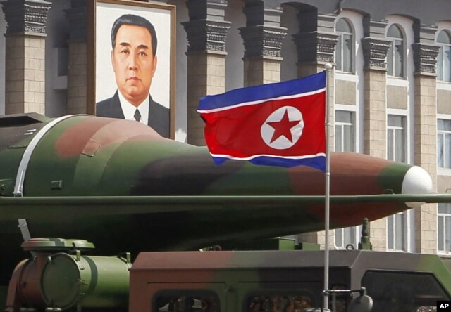 FILE - What appears to be a new missile is displayed during a military parade at the Kim Il Sung Square in Pyongyang, North Korea, April 15, 2012.